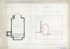 Az evangélikus egyházközösség nádorvárosi templomának terve, alaprajz és telepítési séma. Lakatos Kálmán, 1940. (forrás: © Ráth Mátyás Evangélikus Gyűjtemény, Győr)