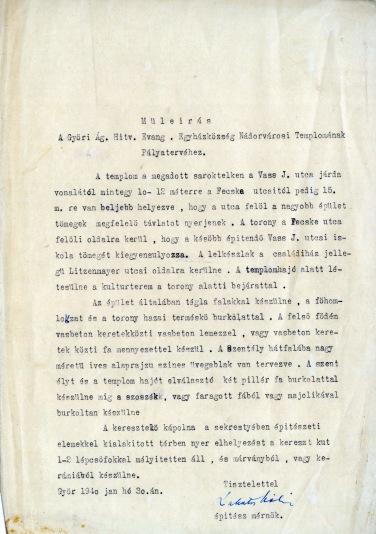 Az evangélikus egyházközösség nádorvárosi templomának terve, műleírás. Lakatos Kálmán, 1940. (forrás: © Ráth Mátyás Evangélikus Gyűjtemény, Győr)