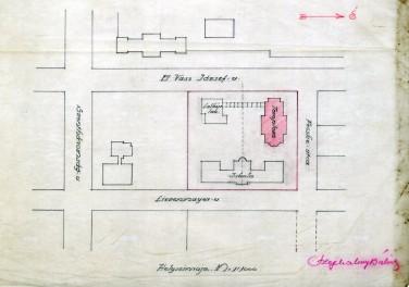Az evangélikus egyházközösség templomának terve, helyszínrajz. Szeghalmy Bálint, feltehetően 1928-ból. (forrás: © Ráth Mátyás Evangélikus Gyűjtemény, Győr)