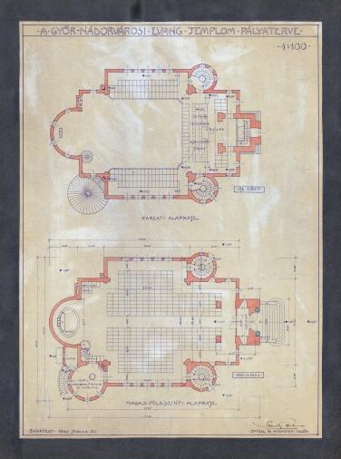 A Győr-Nádorvárosi Evangélikus templom pályaterve, alaprajzok. Sándy Gyula, 1940. (forrás: © Ráth Mátyás Evangélikus Gyűjtemény, Győr)