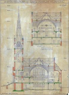 A Győr-Nádorvárosi Evangélikus templom pályaterve, metszetek. Sándy Gyula, 1940. (forrás: © Ráth Mátyás Evangélikus Gyűjtemény, Győr)