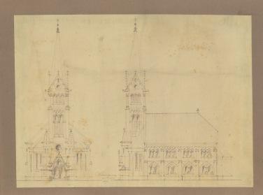 Az evangélikus egyházközösség templomának és iskolájának terve, homlokzatok. Káldy Barna, 1928. (forrás: © Ráth Mátyás Evangélikus Gyűjtemény, Győr)