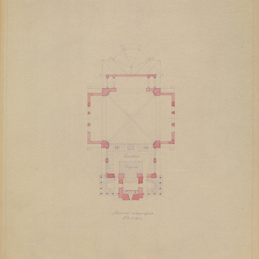 Az evangélikus egyházközösség templomának terve, alaprajz. Szeghalmy Bálint, feltehetően 1928-ból. (forrás: © Ráth Mátyás Evangélikus Gyűjtemény, Győr)
