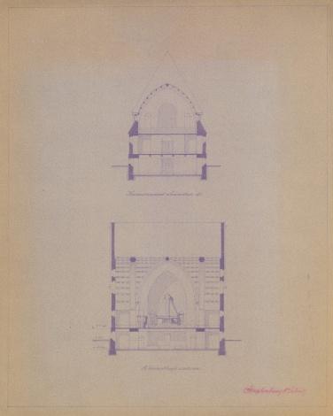 Az evangélikus egyházközösség templomának terve, metszetek. Szeghalmy Bálint, feltehetően 1928-ból. (forrás: © Ráth Mátyás Evangélikus Gyűjtemény, Győr)
