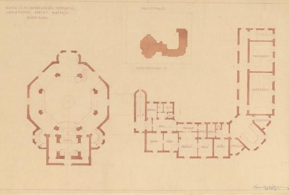 Az evangélikus egyházközösség templomának és iskolájának terve, földszinti alaprajz. Lakatos Kálmán, 1928. (forrás: © Ráth Mátyás Evangélikus Gyűjtemény, Győr)