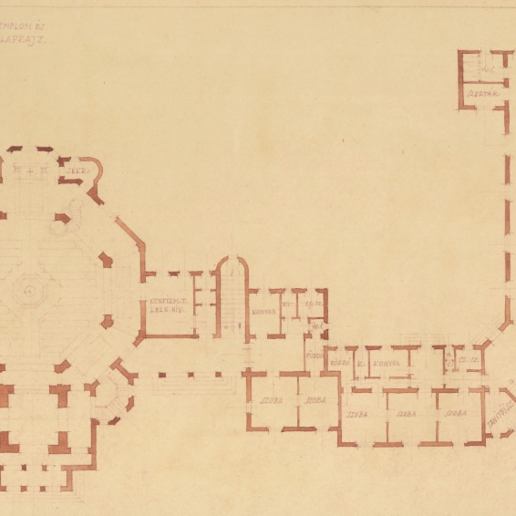 Az evangélikus egyházközösség templomának és iskolájának terve, emeleti alaprajz. Lakatos Kálmán, 1928. (forrás: © Ráth Mátyás Evangélikus Gyűjtemény, Győr)